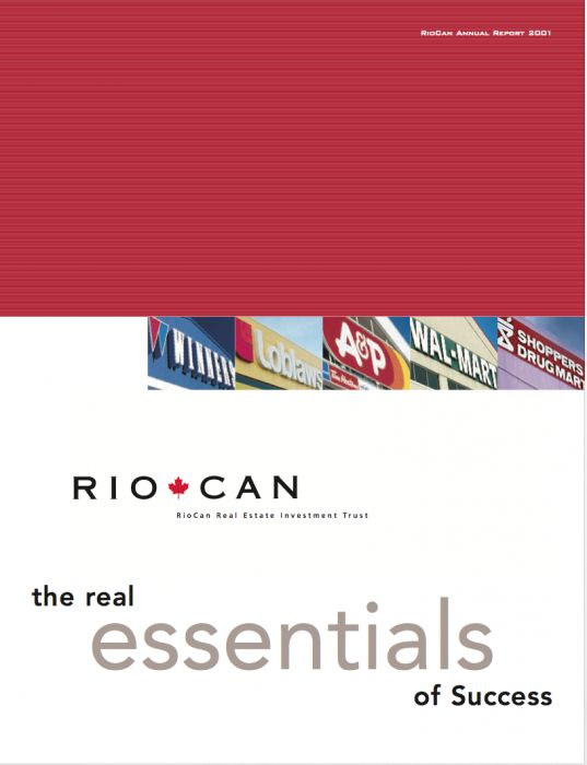 Riocan Annual Report Cover 2001