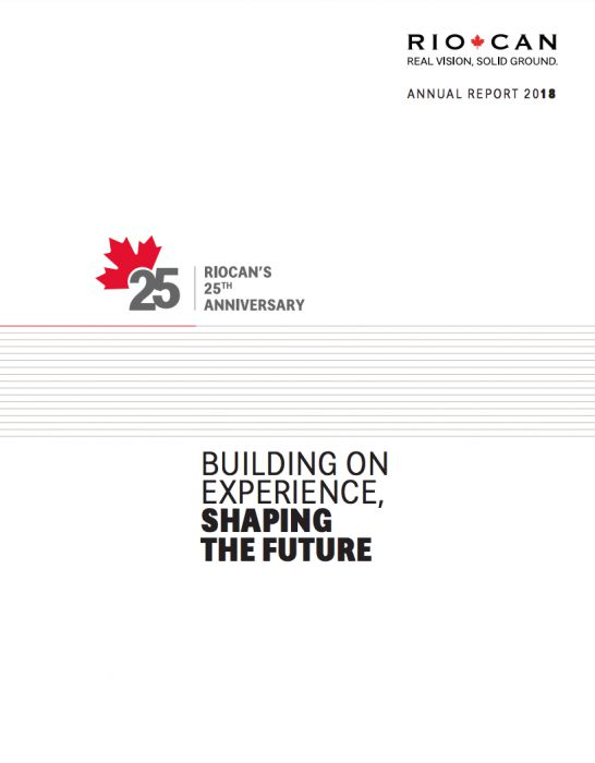 Riocan Annual Report Cover 2018